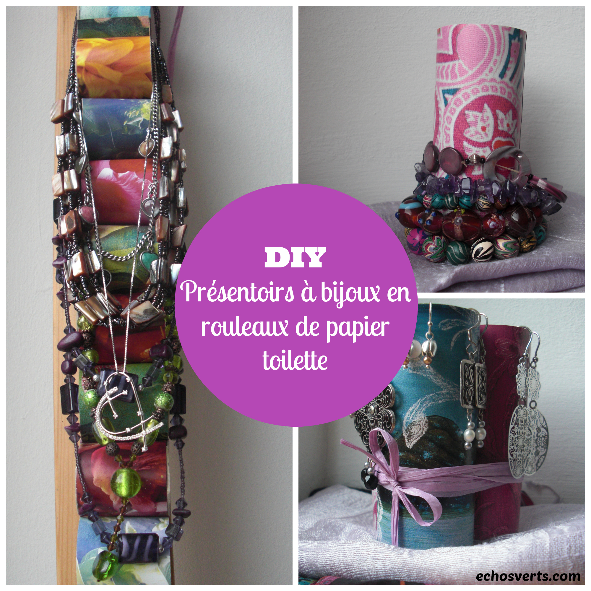 diy pr sentoirs bijoux en rouleaux de papier toilette. Black Bedroom Furniture Sets. Home Design Ideas